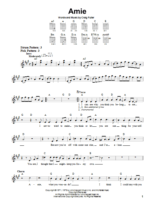 Tablature guitare Amie de Pure Prairie League - Tablature guitare facile