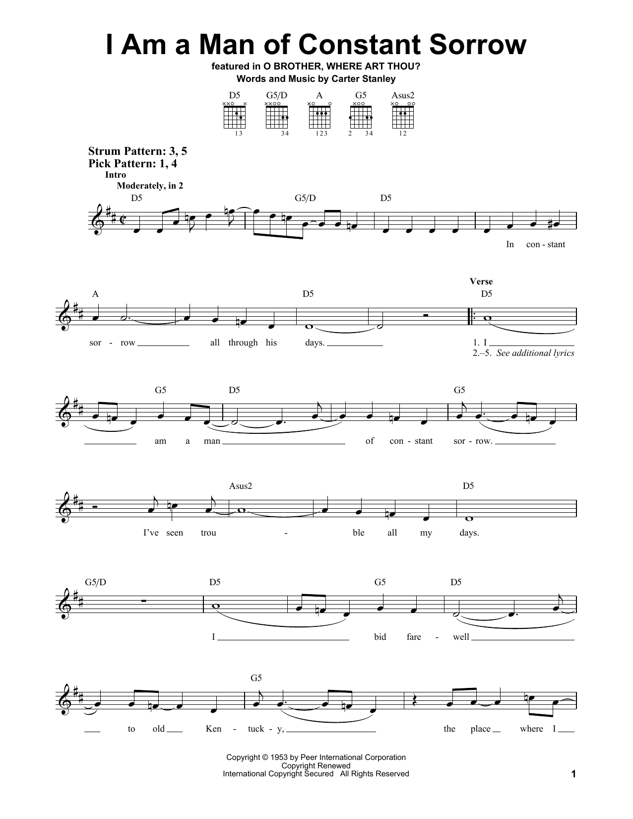 Tablature guitare I Am A Man Of Constant Sorrow de The Soggy Bottom Boys - Tablature guitare facile