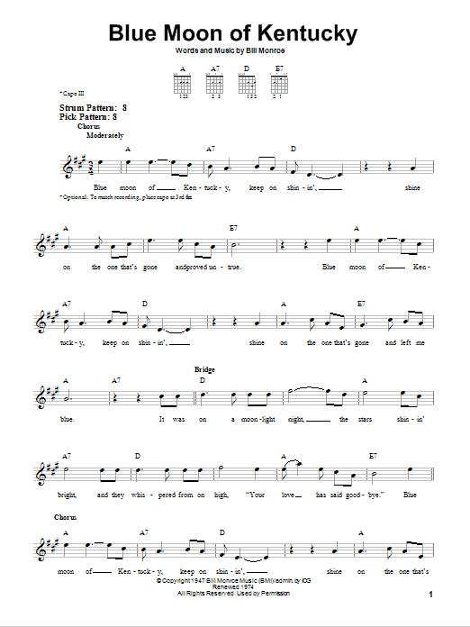 Tablature guitare Blue Moon Of Kentucky de Bill Monroe - Tablature guitare facile