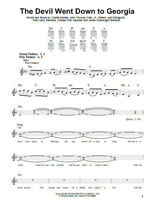 Tablature guitare The Devil Went Down To Georgia de Charlie Daniels Band - Tablature guitare facile