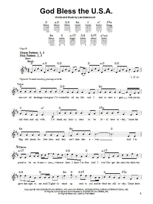 Tablature guitare God Bless The U.S.A. de Lee Greenwood - Tablature guitare facile