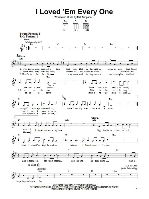Tablature guitare I Loved 'Em Every One de T.G. Sheppard - Tablature guitare facile