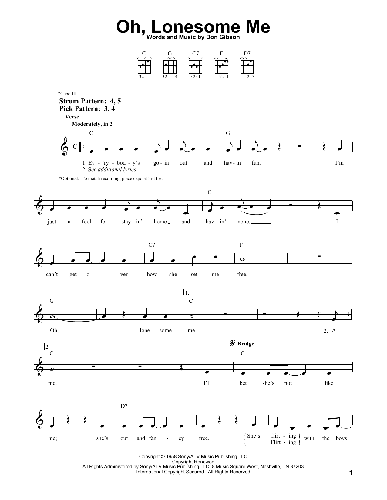 Sheet music digital files to print licensed don gibson digital oh lonesome me hexwebz Choice Image