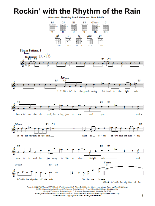 Tablature guitare Rockin' With The Rhythm Of The Rain de The Judds - Tablature guitare facile