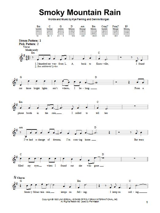 Tablature guitare Smoky Mountain Rain de Ronnie Milsap - Tablature guitare facile