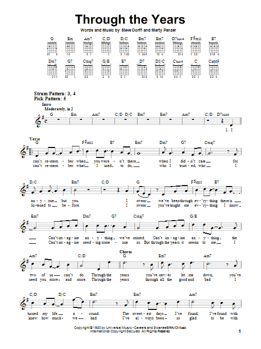 Through The Years sheet music for guitar solo (chords) by Marty Panzer