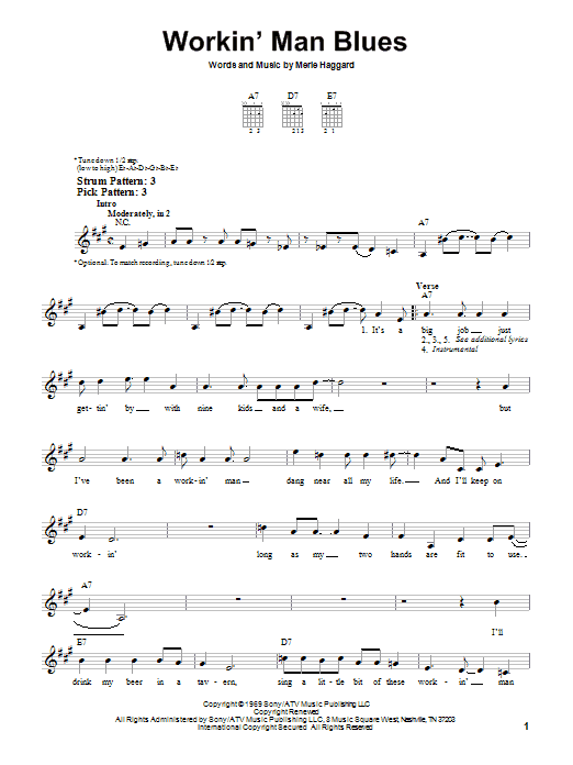 Tablature guitare Workin' Man Blues de Merle Haggard - Tablature guitare facile