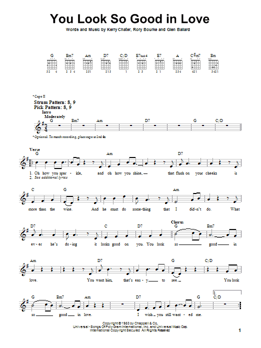 Tablature guitare You Look So Good In Love de George Strait - Tablature guitare facile
