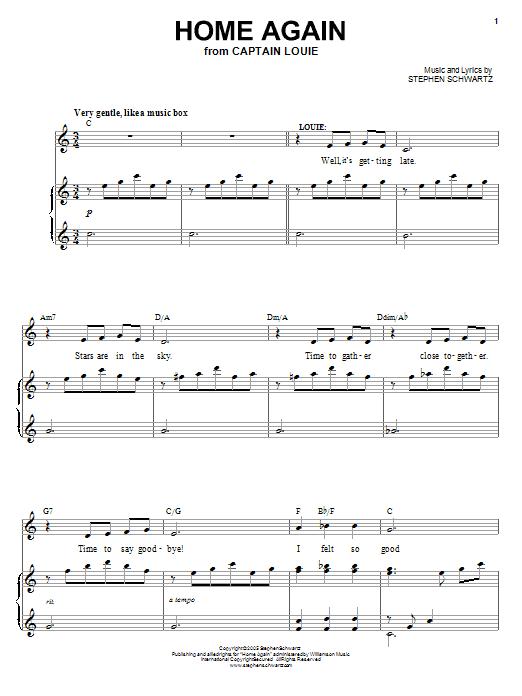 Partition piano Home Again de Stephen Schwartz - Piano Voix Guitare (Mélodie Main Droite)