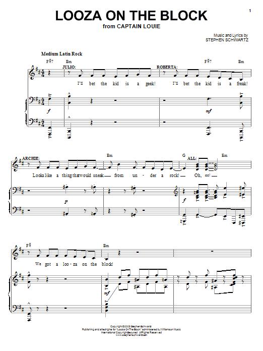 Partition piano Looza On The Block de Stephen Schwartz - Piano Voix Guitare (Mélodie Main Droite)