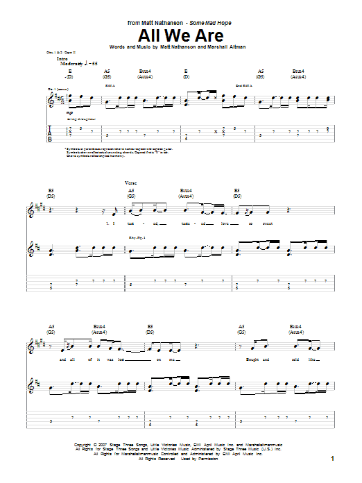 All We Are sheet music for guitar solo (tablature) by Marshall Altman