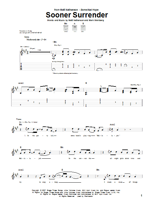 Sooner Surrender sheet music for guitar solo (tablature) by Mark Weinberg