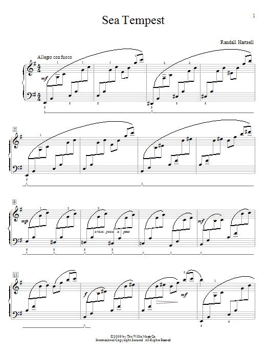 Partition piano Sea Tempest de Randall Hartsell - Piano Facile