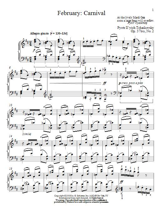Partition piano Carnival de February - Piano Solo