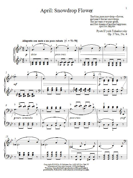 Partition piano Snowdrop Flower de April - Piano Solo