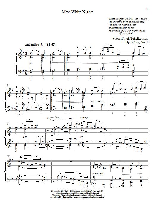 Partition piano White Nights de May - Piano Solo