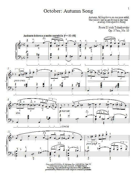 Partition piano Autumn Song de October - Piano Solo
