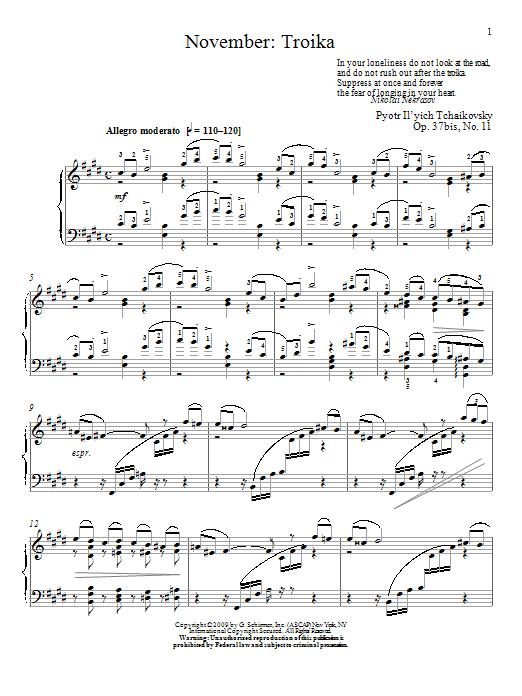 Partition piano Troika de November - Piano Solo