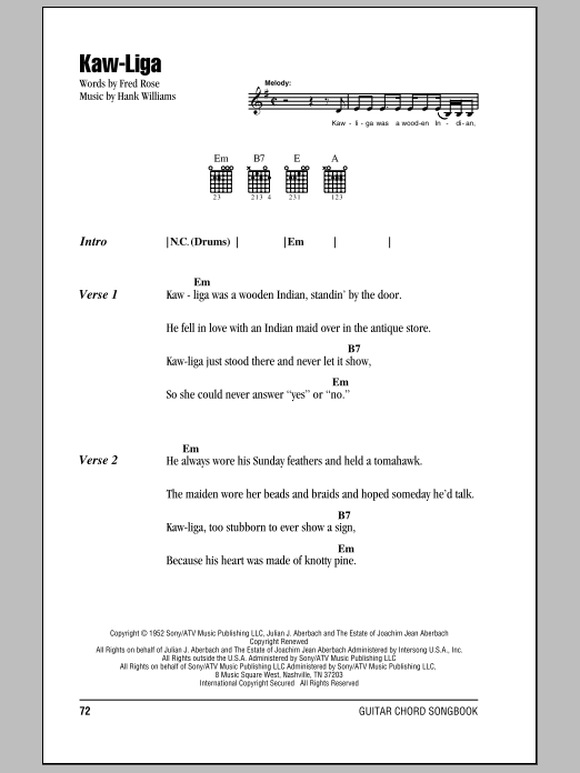 Kaw-Liga sheet music for guitar solo (chords, lyrics, melody) by Fred Rose