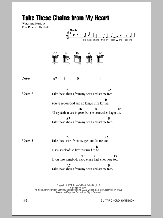 Take These Chains From My Heart sheet music for guitar solo (chords, lyrics, melody) by Hy Heath