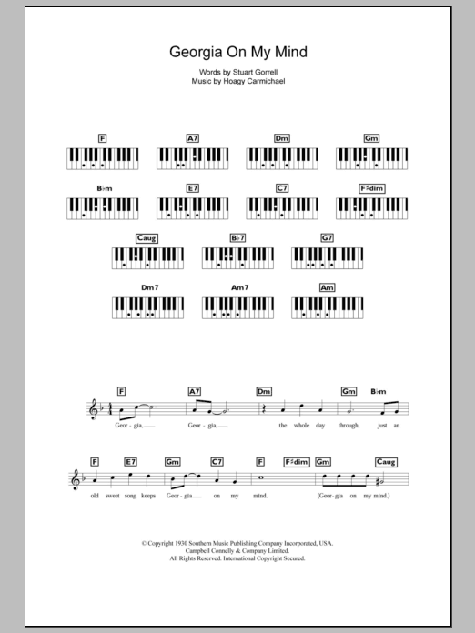 Georgia On My Mind sheet music for piano solo (chords, lyrics, melody) by Stuart Gorrell