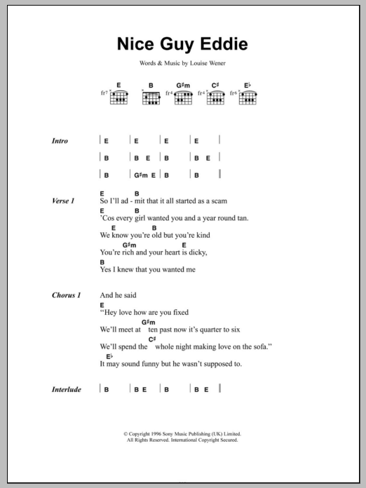 Nice Guy Eddie sheet music for guitar solo (chords, lyrics, melody) by Louise Wener