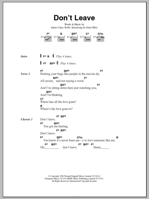 Don't Leave sheet music for guitar solo (chords, lyrics, melody) by Sister Bliss