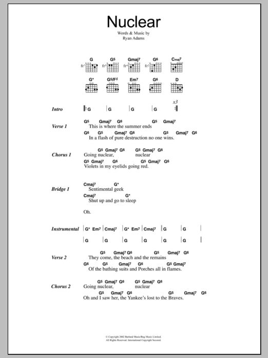 Nuclear sheet music for guitar solo (chords, lyrics, melody) by Ryan Adams