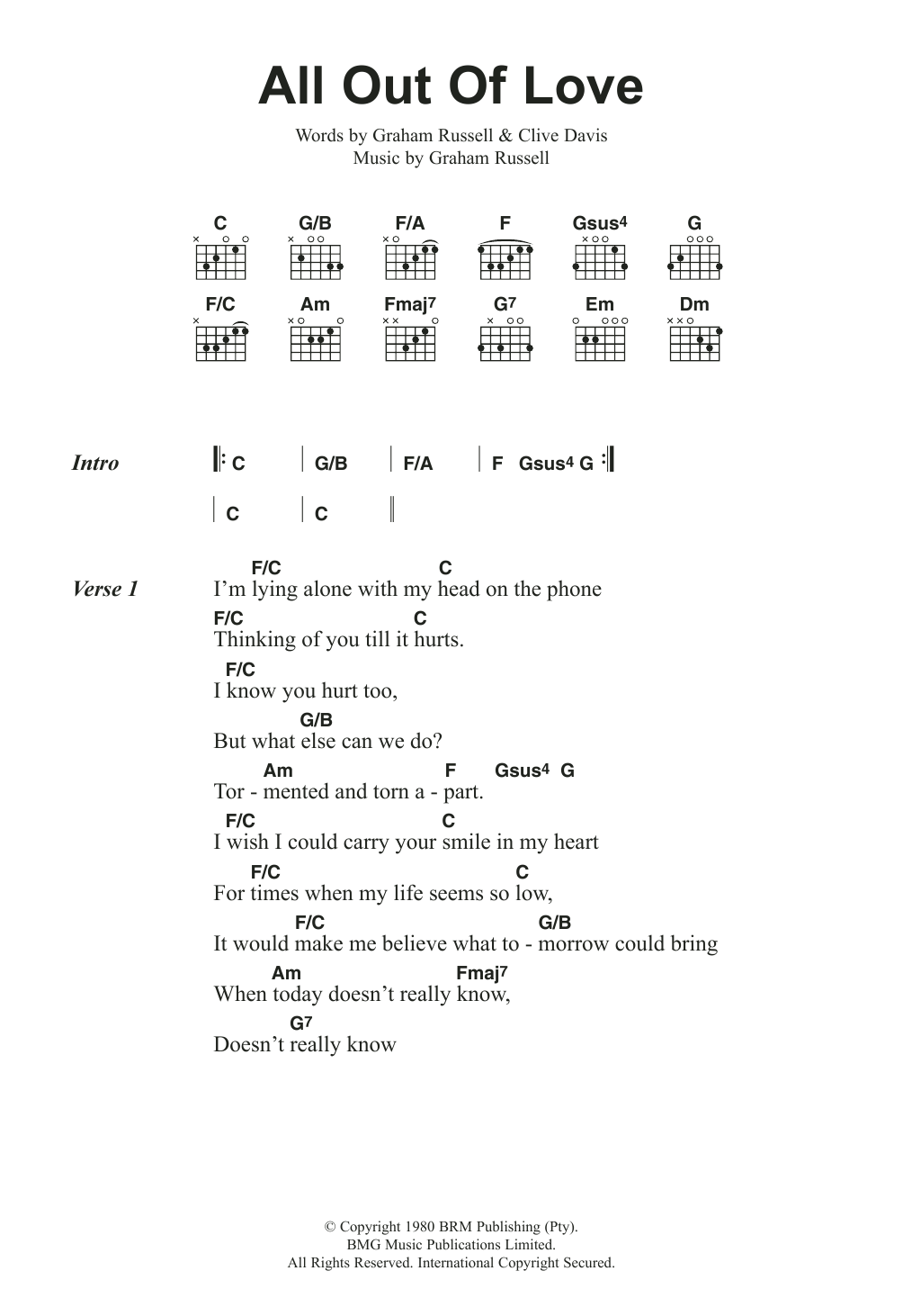 Sheet Music Digital Files To Print Licensed Air Supply Digital