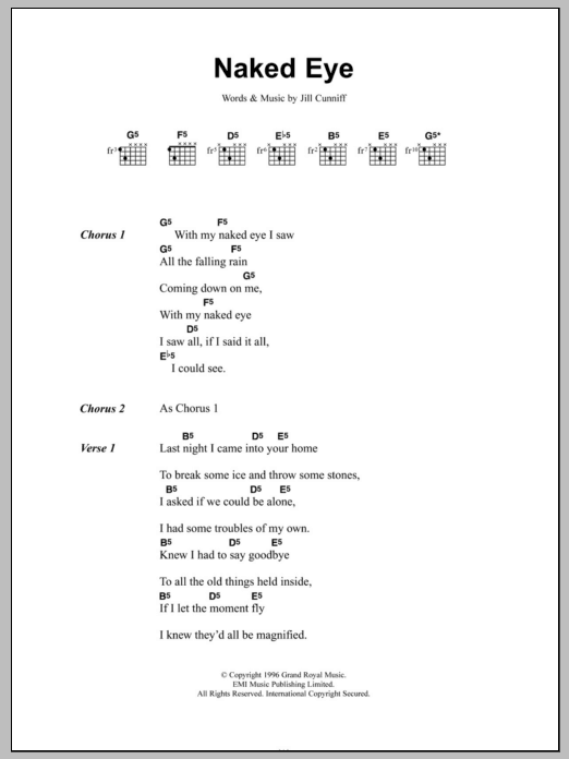 Naked Eye sheet music for guitar solo (chords, lyrics, melody) by Jill Cunniff