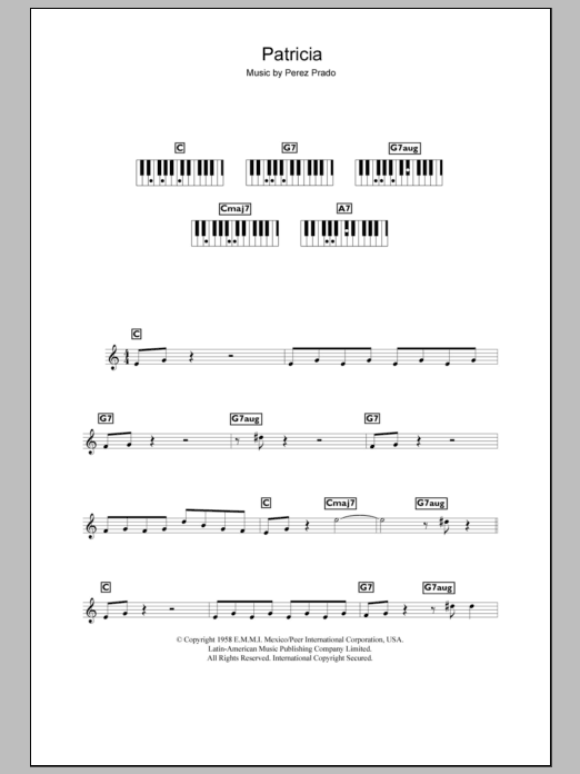Patricia sheet music for piano solo (chords, lyrics, melody) by Perez Prado