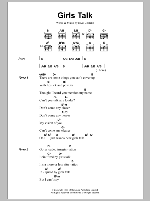 Girls Talk sheet music for guitar solo (chords, lyrics, melody) by Elvis Costello