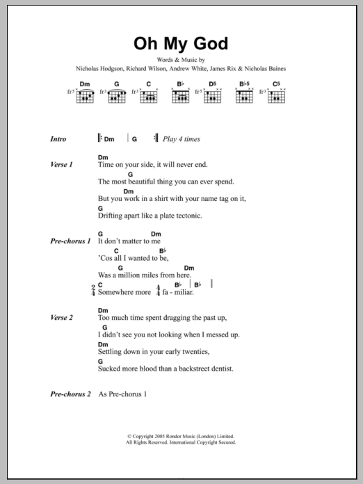 Oh My God sheet music for guitar solo (chords, lyrics, melody) by Richard Wilson
