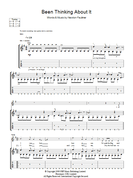 Been Thinking About It sheet music for guitar solo (tablature) by Newton Faulkner