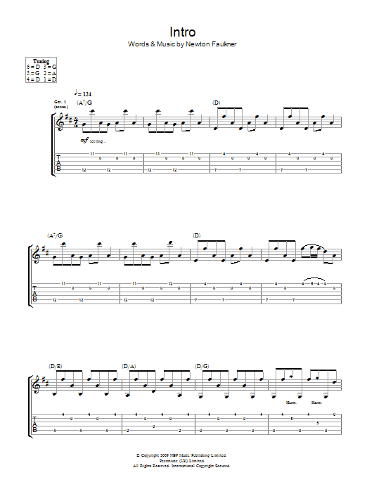 Intro sheet music for guitar solo (tablature) by Newton Faulkner