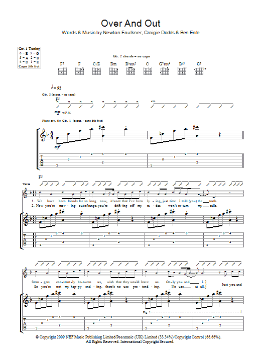 Over And Out sheet music for guitar solo (tablature) by Craigie Dodds