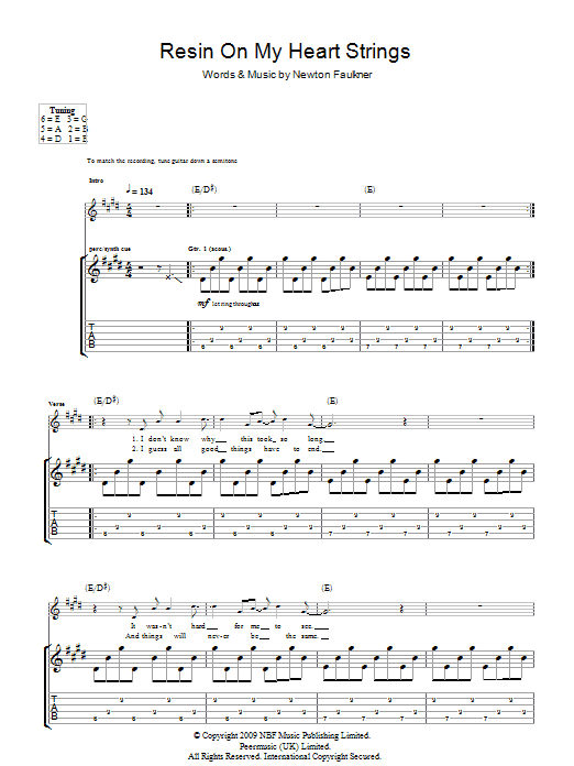 Resin On My Heart Strings sheet music for guitar solo (tablature) by Newton Faulkner