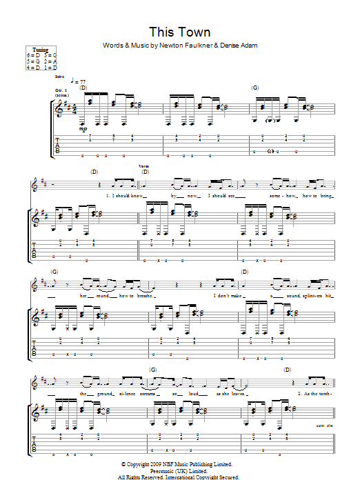 This Town sheet music for guitar solo (tablature) by Denise Adam