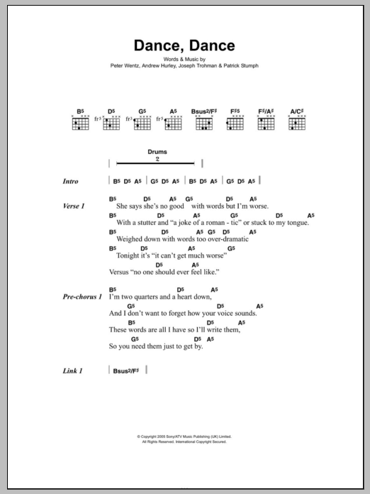 Dance, Dance sheet music for guitar solo (chords, lyrics, melody) by Peter Wentz