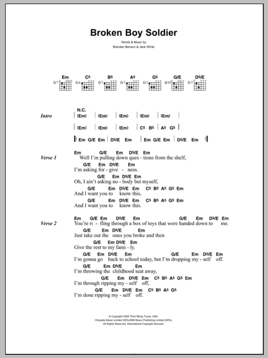 Broken Boy Soldier sheet music for guitar solo (chords, lyrics, melody) by Jack White