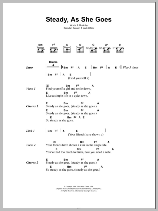 Steady, As She Goes sheet music for guitar solo (chords, lyrics, melody) by Jack White