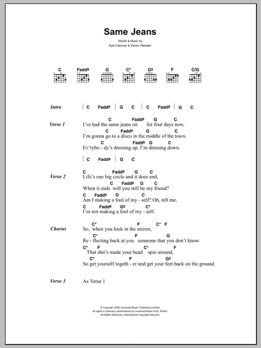 Same Jeans sheet music for guitar solo (chords, lyrics, melody) by Kyle Falconer