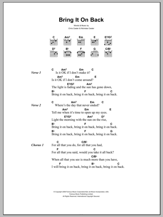 Bring It On Back sheet music for guitar solo (chords, lyrics, melody) by Chris Cester