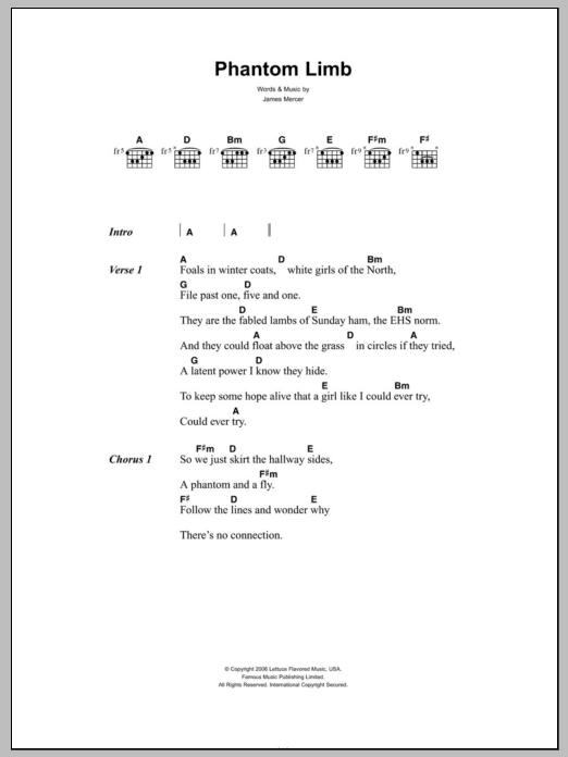 Phantom Limb sheet music for guitar solo (chords, lyrics, melody) by James Mercer