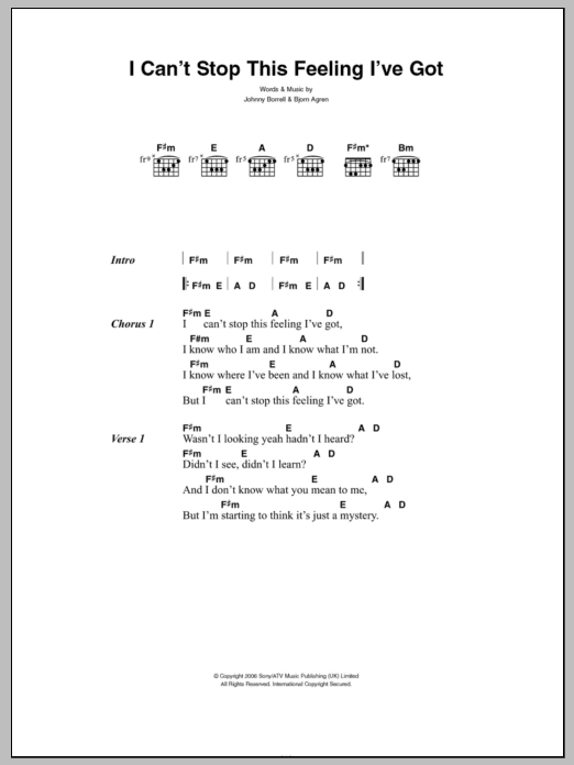 Can't Stop This Feeling I've Got sheet music for guitar solo (chords, lyrics, melody) by Johnny Borrell