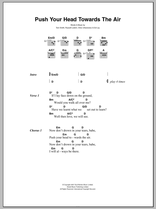 Push Your Head Towards The Air sheet music for guitar solo (chords, lyrics, melody) by Tom Smith