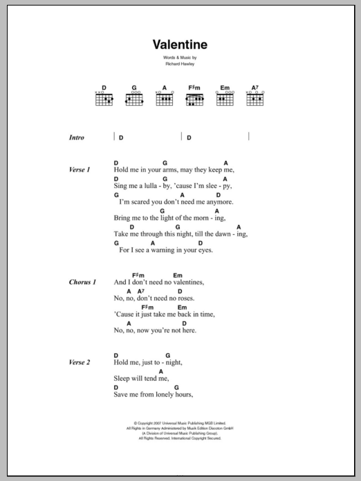 Valentine sheet music for guitar solo (chords, lyrics, melody) by Richard Hawley