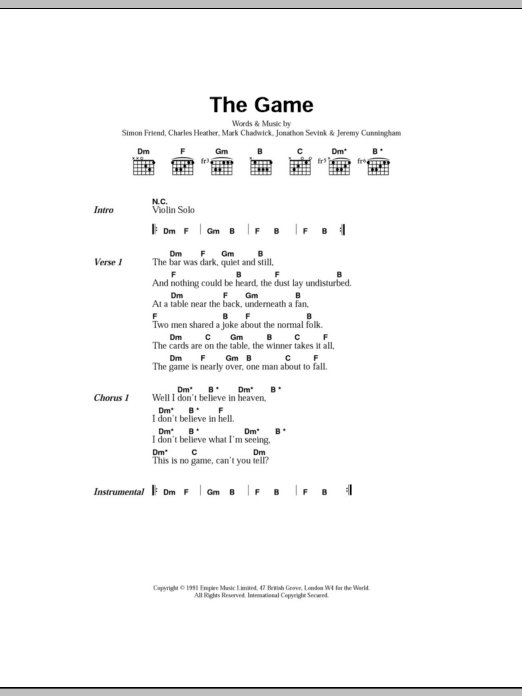 The Game sheet music for guitar solo (chords, lyrics, melody) by Simon Friend