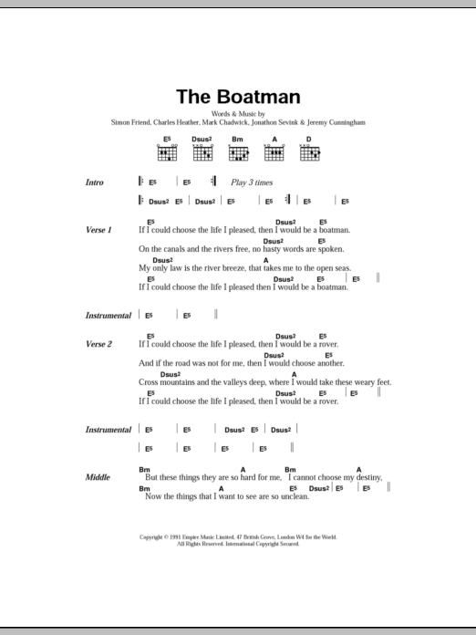 The Boatman sheet music for guitar solo (chords, lyrics, melody) by Simon Friend