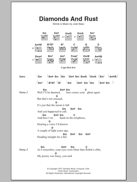 Sheet Music Digital Files To Print Licensed Joan Baez Digital